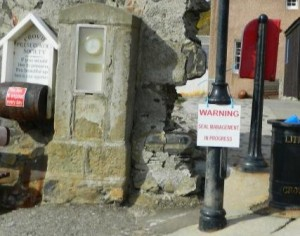 'Seal management in progress' sign at Crovie